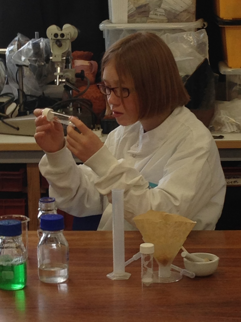 Child carrying out scientific experiment