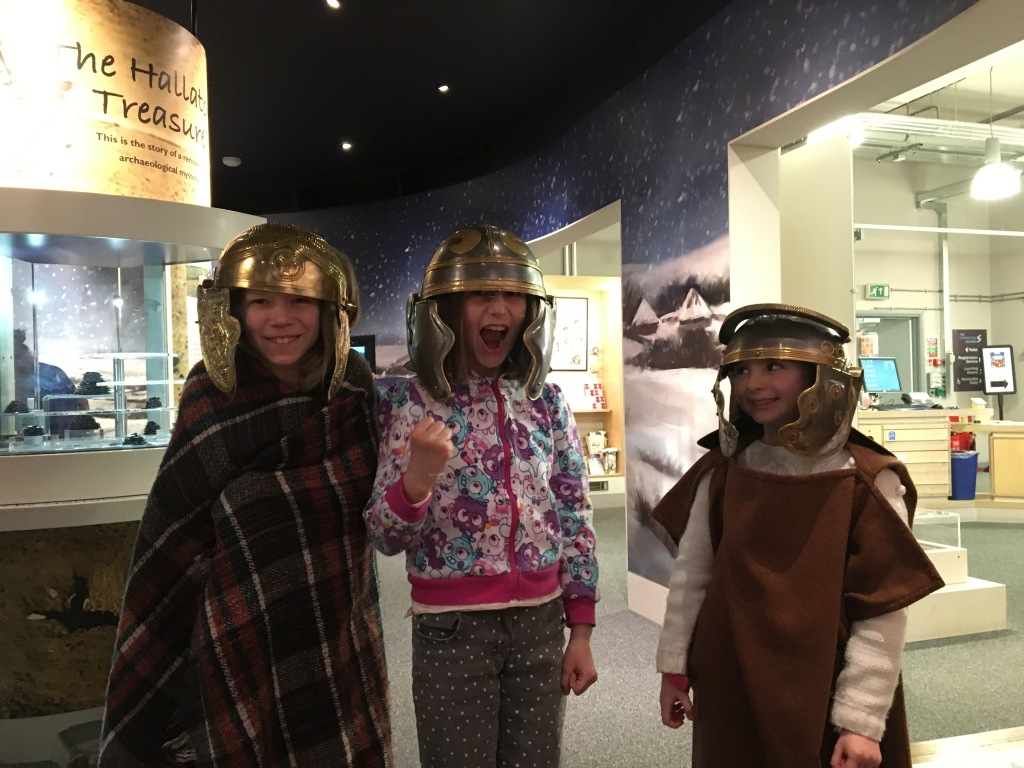 Children dressing up in Iron Age and Roman costume at Harborough Museum.